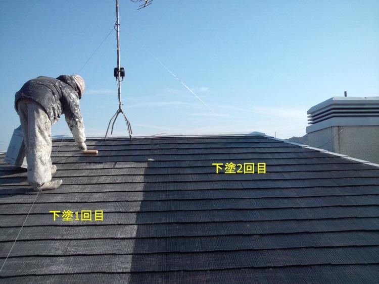 屋根塗装 下塗2回目